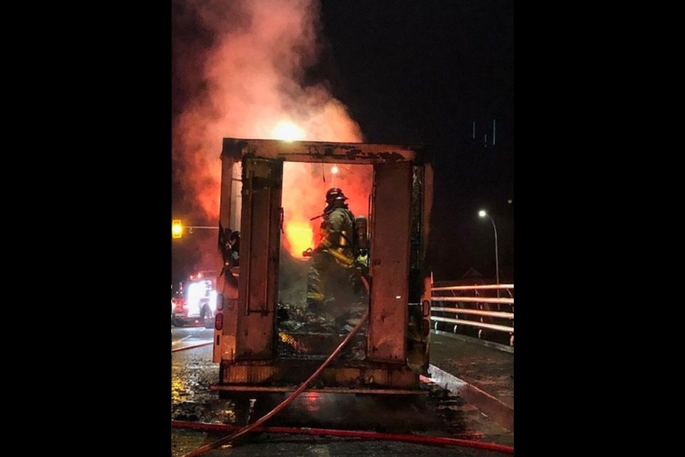 A Doritos truck caught fire this morning on the Millstream overpass in Langford. (via Langford Fire)