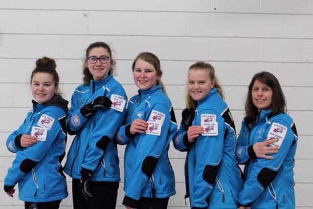 Team Hafeli won the Okanagan Zone U18 girl's playdown this weekend. From left to right: skip Holly Hafeli, third Hannah O'Neill, second Jorja Kopytko, lead Natalie Hafeli and coach Monica Makar. (via Melanie Kopytko)