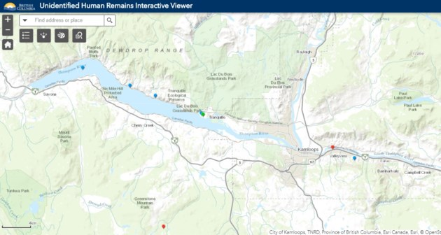 Map Of Canada Showing Kamloops.Coroners Service Launches Interactive Map Of Unidentified Human