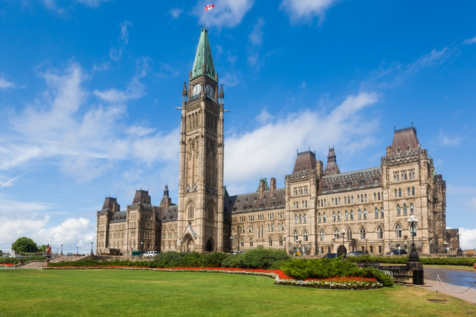 Centre Block and the Peace Tower, Parliament Hill. (via Shutterstock)