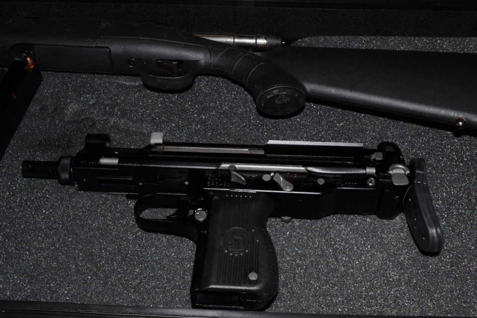 Seized firearms from a Badger Drive search warrant earlier this year. (via Kamloops RCMP)