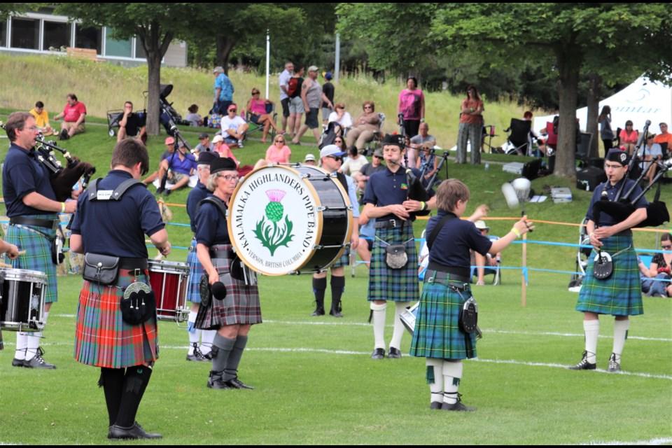 Members of the Kalamalka Highlanders Pipe Band perform and compete. (via Brendan Kergin)