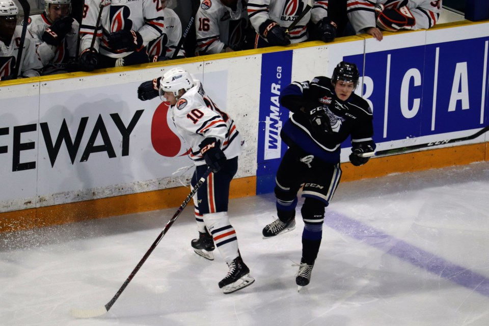 Logan Stankoven just misses a hit on Tarun Fizer in the first period of Game 4 between the Kamloops Blazers and Victoria Royals. (via Eric Thompson)