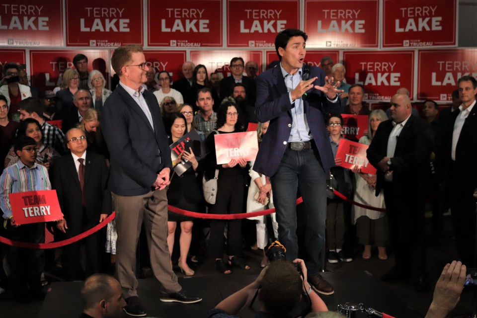 Prime Minister Justin Trudeau and Terry Lake, who's held a variety of local political positions, including MLA for Kamloops-North Thompson and B.C. health minister. (via Brendan Kergin)