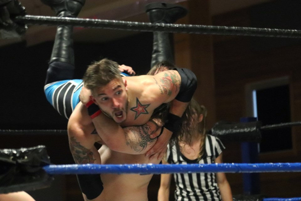 Jayce D'Arcy gets slammed by Chucky Lee Ray in the opening triple-threat match.  (via Eric Thompson)