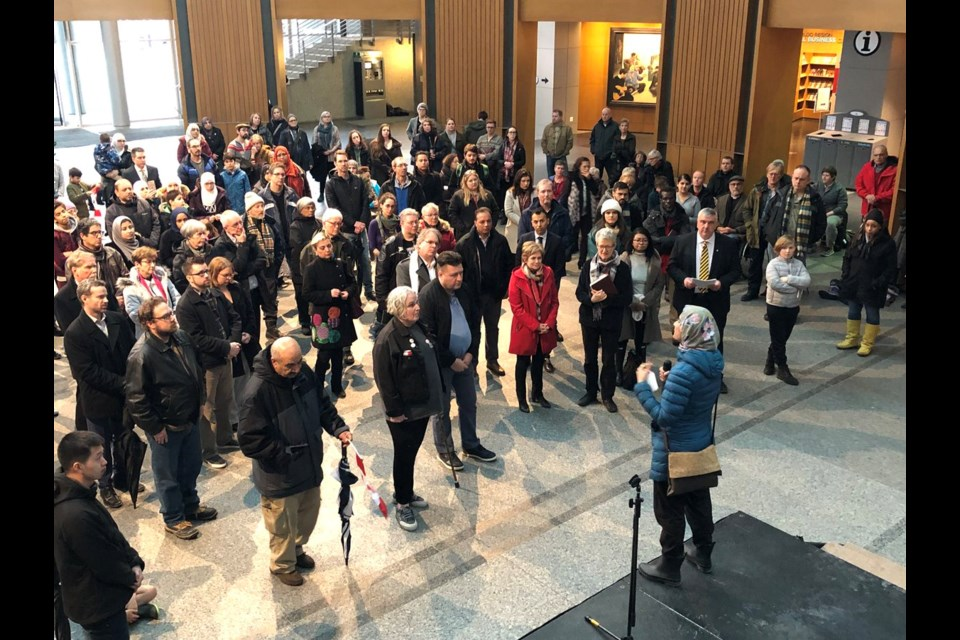 A vigil was held March 15 at Kitchener City Hall to remember the victims of shootings at two mosques in New Zealand. Phi Doan/KitchenerToday