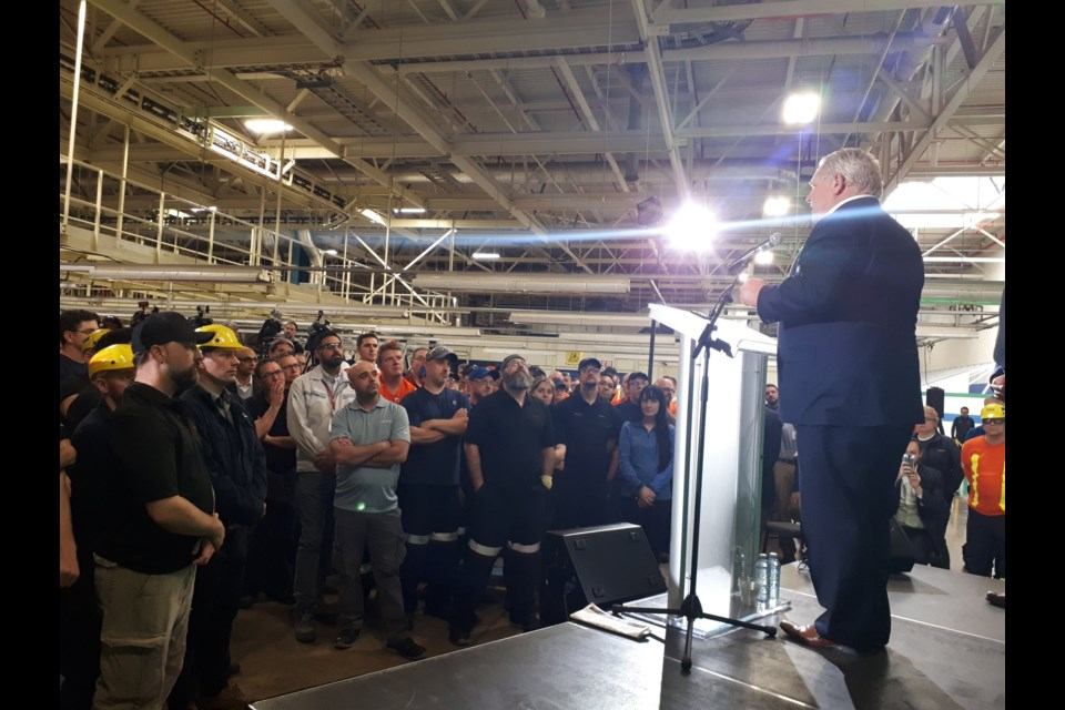 Premier Doug Ford speaks at the Toyota plant in Cambridge (March 29, 2019). Aastha Shetty/KitchenerToday