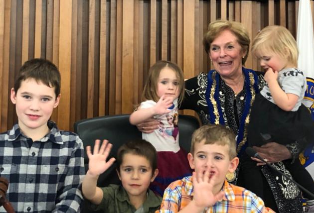 Redman with grandchildren