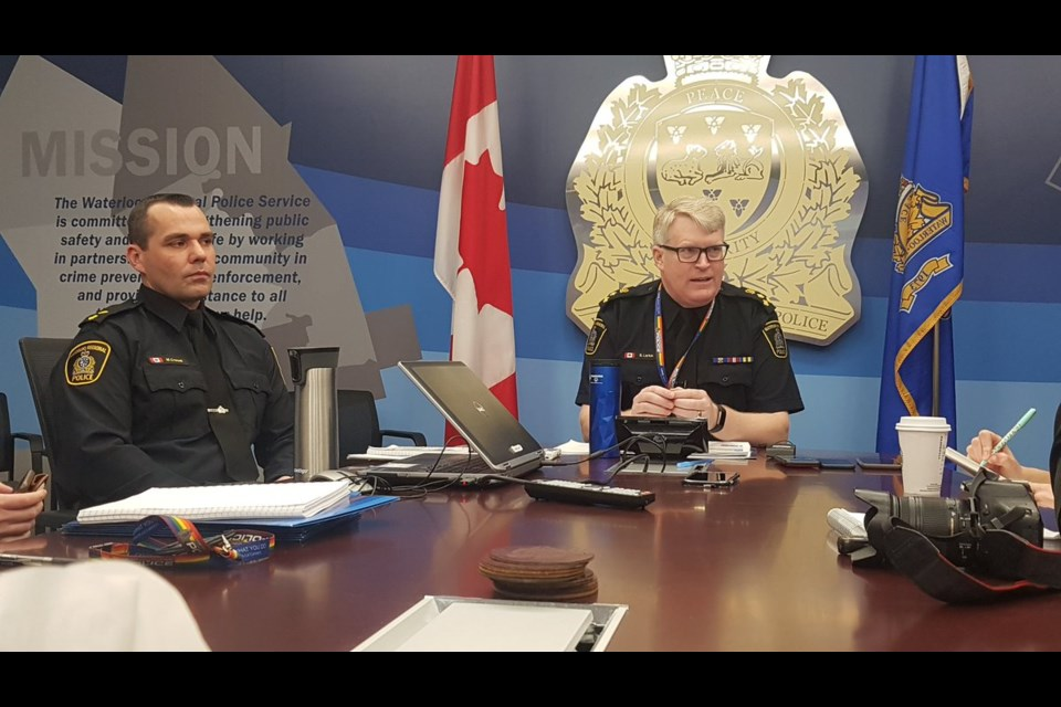 Waterloo Regional Police Chief Bryan Larkin addresses local media during a roundtable discussion about the recent surge in violent crime (April 26, 2019). Mark Pare/KitchenerToday