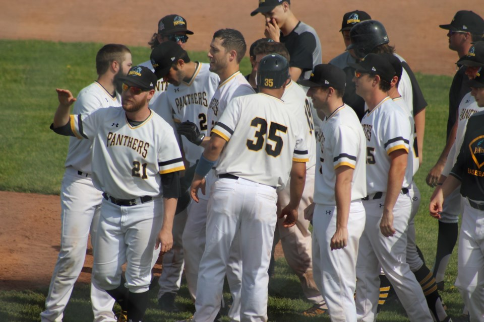 Kitchener Panthers celebrate a walk-off victory at home against Welland.  Mark Pare/KitchenerToday