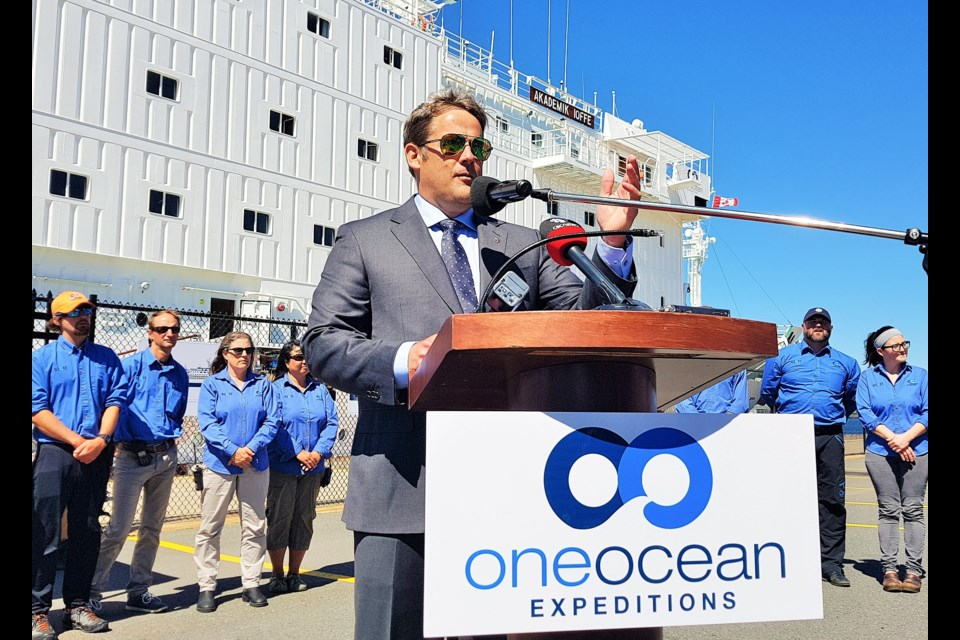 Andrew Prossin, founder and CEO of One Ocean Expeditions, announces plans to expand operations to three vessels that will operate out of Sydney Harbour starting next year. (TOM AYERS / Local Xpress)