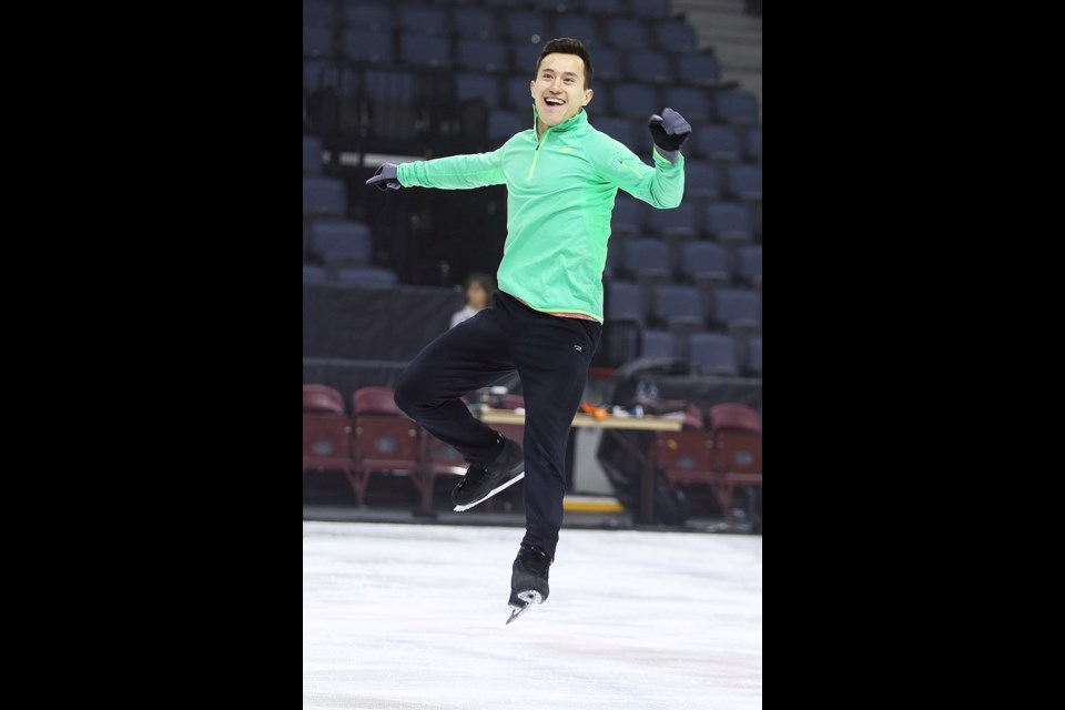 Three-time world champion Patrick Chan rehearses at the Scotiabank Centre on Wednesday morning. (RYAN TAPLIN / Local Xpress)