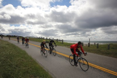 7. Coming 'round the bend at Mavilette Beach on the  Gran Fondo Baie Sainte-Marie. (Photo Sandra Phinney)