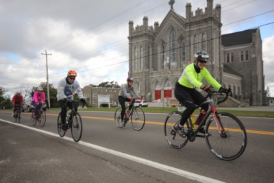 8. Zooming by one of many magnificent churches in Clare durign the Gran Fondo event. (Photo Sandra Phinney)