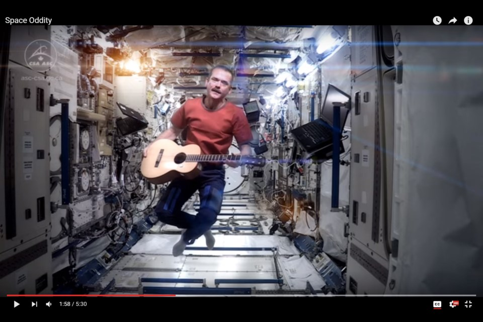 Former astronaut Chris Hadfield is shown here in a screen grab from the video for his version of David Bowie's Space Oddity, shot on the International Space Station. Hadfield will perform the hit with Symphony Nova Scotia this weekend at the Rebecca Cohn Auditorium.