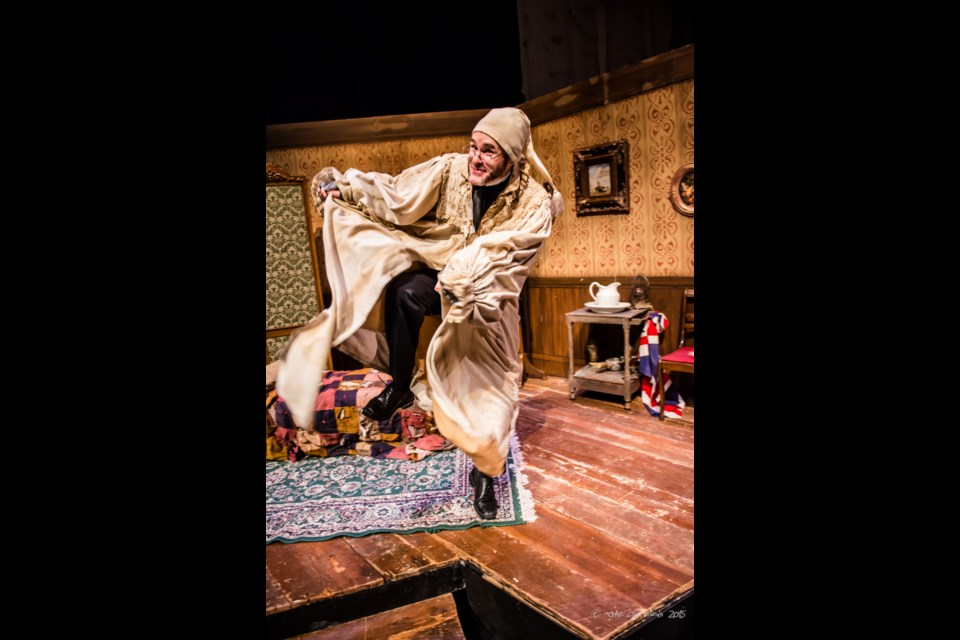 Rhys Bevan-John plays the famous miser Scrooge in A Christmas Carol, the 85-minute  show for all ages playing at the Neptune studio theatre in an Eastern Front Theatre production Tuesday to Dec. 24. (Stoo Metz)
