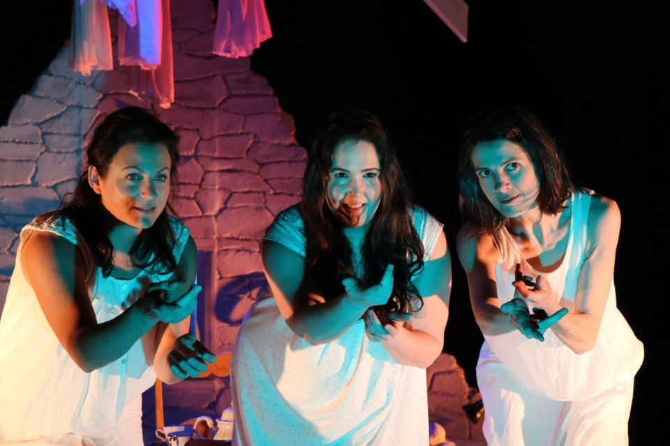 Francine Deschepper (Dunya), left,  Ryanne Chisholm (Annie) and Geneviève Steele (Rosie) in a scene from the LunaSea Theatre production of The Donahue Sisters. The play runs through Saturday at The Waiting Room 6040 Almon Street. (ERIC WYNNE / LocalXpress)