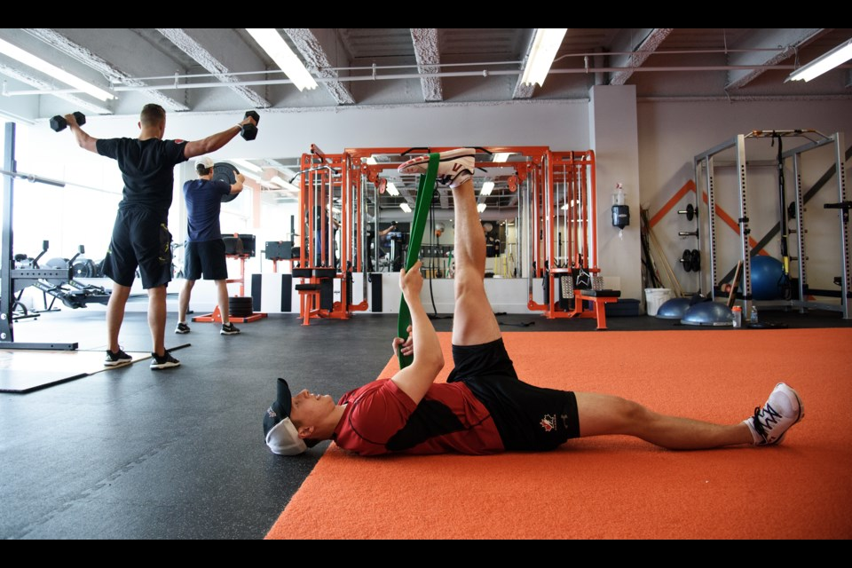 NHL draft prospect Luke Green trains Wednesday at ProEdge Sports Conditioning in Bedford. 