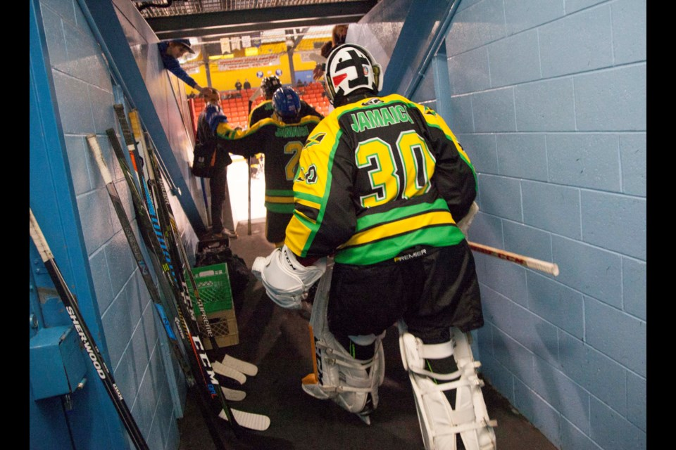 Team Jamaica Olympic U20s prepare to hit the ice for their game against Team Nova Scotia U20s during their Bobsled to Blades exhibition game at the Dartmouth Sportsplex on Sunday. (TIM KROCHAK / Local Xpress)
