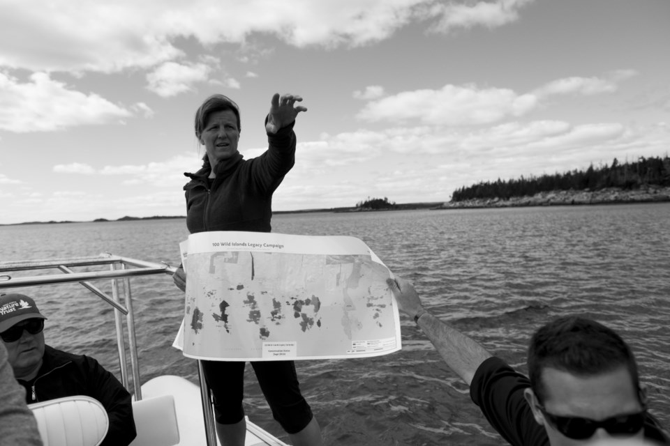 Bonnie Sutherland, executive director of Nova Scotia Nature Trust,    gives a tour of the islands off the Eastern Shore on Thursday. (TED PRITCHARD / Local Xpress)
