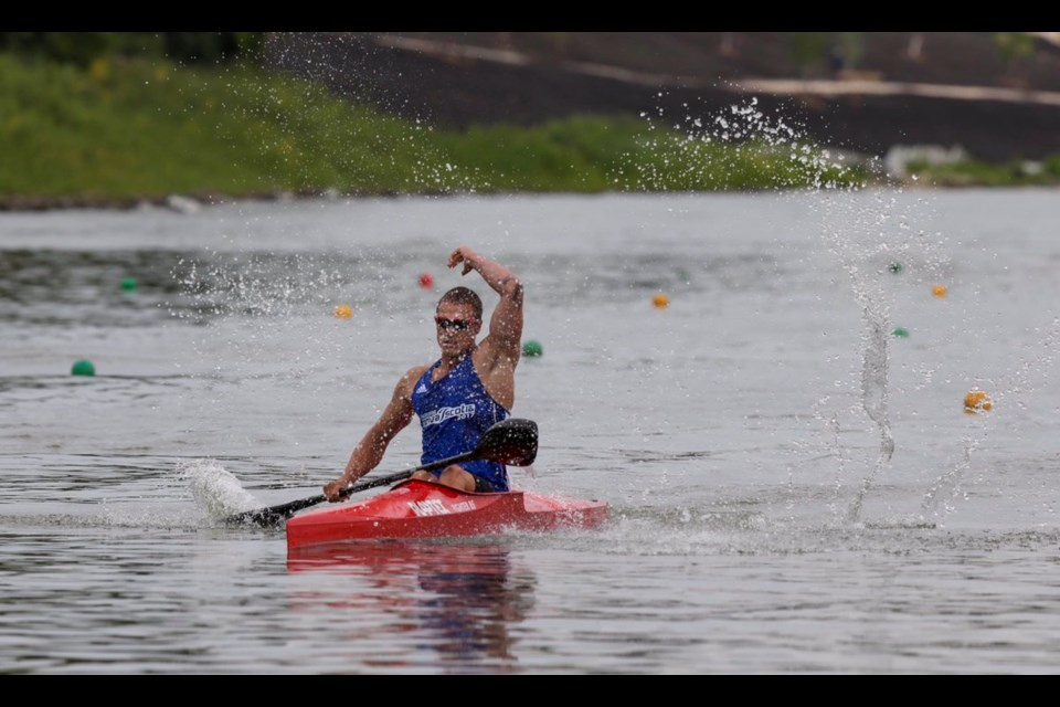Halifax's Zane Clarke races to gold in the K-1 1,000 on Tuesday. Team Nova Scotia made it 15 medals in 16 tries at the Canada Games, continuing a run of excellence widely anticipated for the paddling team. (TEAM NOVA SCOTIA)