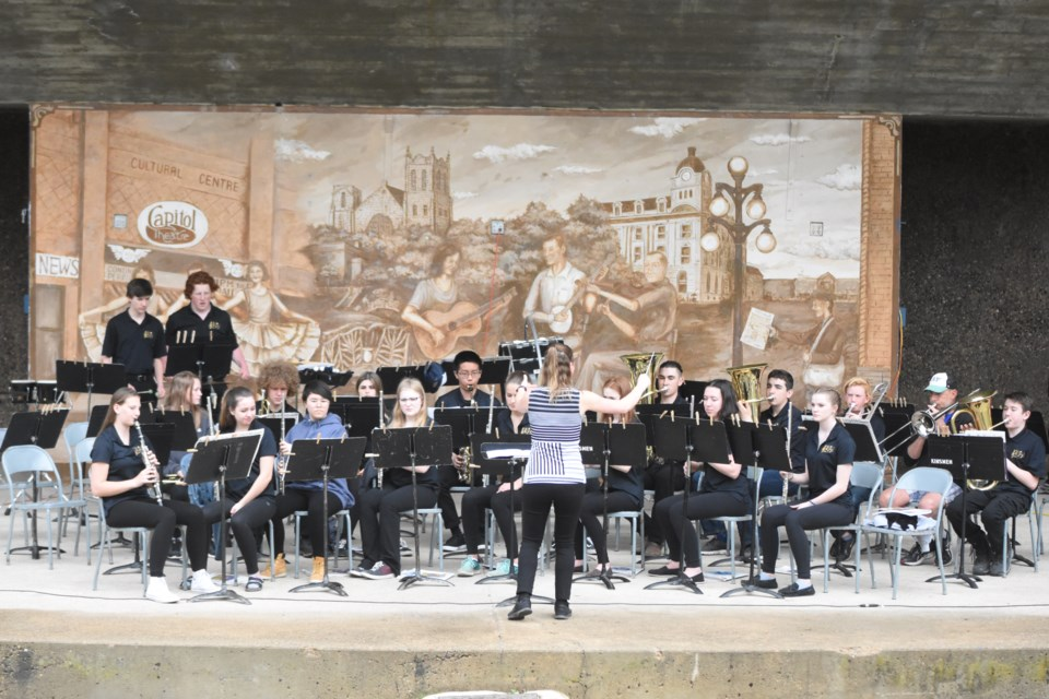The Grade 9 band from Olds Ecole High School in Alberta performed in the Crescent Park amphitheatre on May 15, as part of the Moose Jaw Band and Choral Festival. This was the band's first time playing outside. Photo by Jason G. Antonio