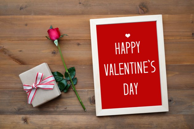 valentines day card and gift stock