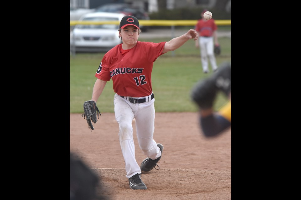 Carson Reed delivers a pitch for the Canucks during fifth inning action of game two.
