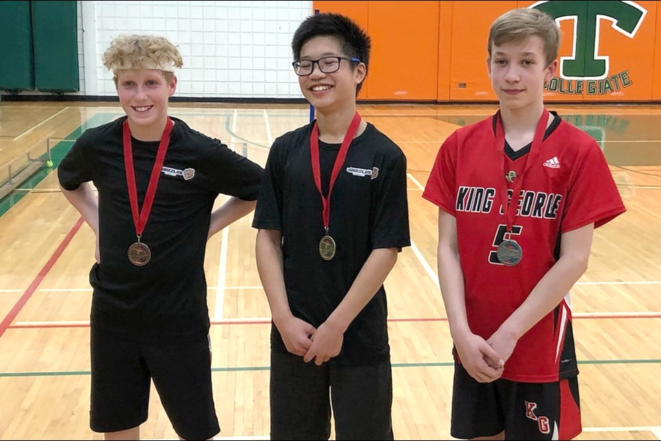 Winners of the Moose Jaw elementary boys singles badminton championship are Ashton Glova (Sunningdale, bronze), Nigel Fang (Sunningdale, gold) and Tegan Tollefson (King George, silver).