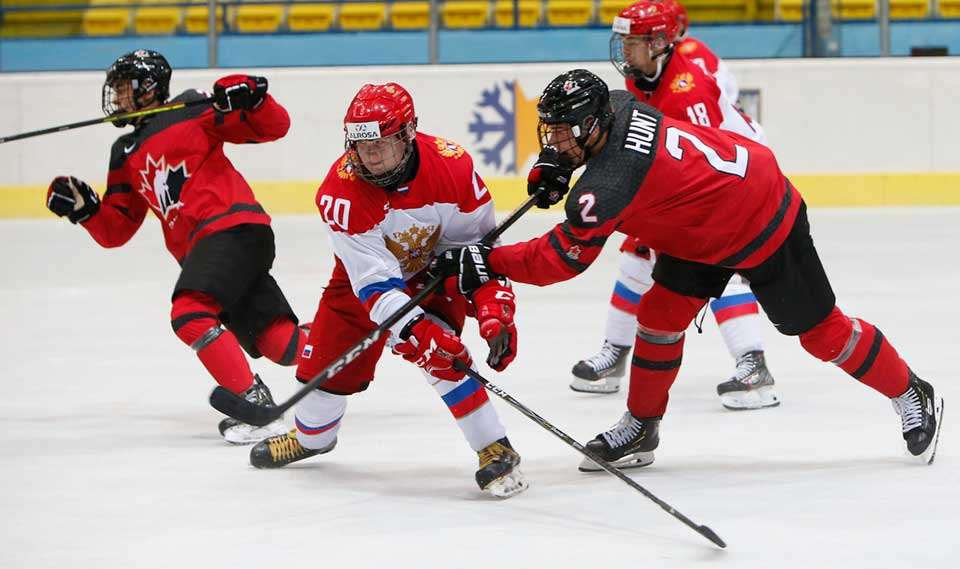 Moose Jaw Warriors defenceman Daemon Hunt in action against Russia during the Hlinka Gretzky Cup gold medal game