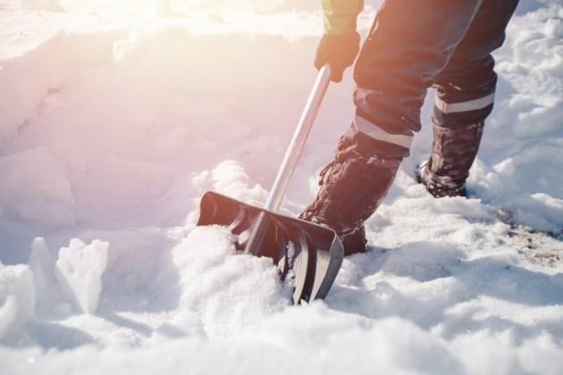 shovelling snow stock