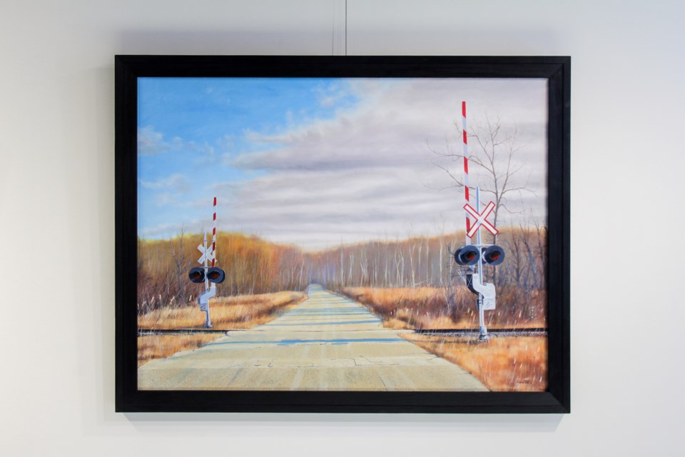 End of 10th Railway Crossing, an oil on canvas, by George Keltika in one of the works in the Use What Talents You Possess exhibit at the Old Town Hall. Supplied photo/Retired Teachers of Ontario York Region