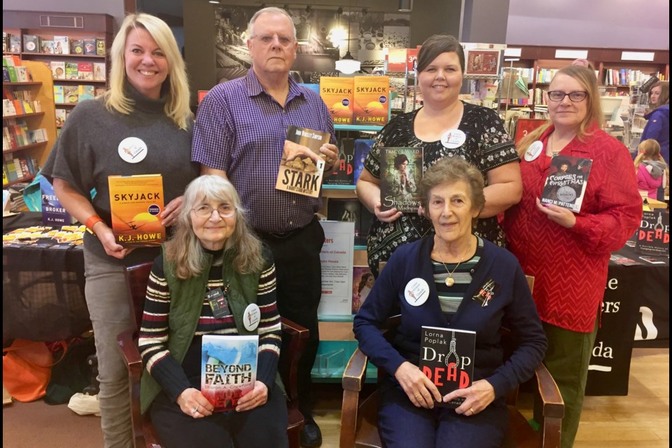 Area crime writers (from left) K.J. Howe, John Worsley Simpson, Tracy L. Ward, Nanci M. Pattenden, (front) Sharon A. Crawford and Lorna Poplak came to Chapters in Newmarket for a Crime Writers of Canada event. Debora Kelly/NewmarketToday