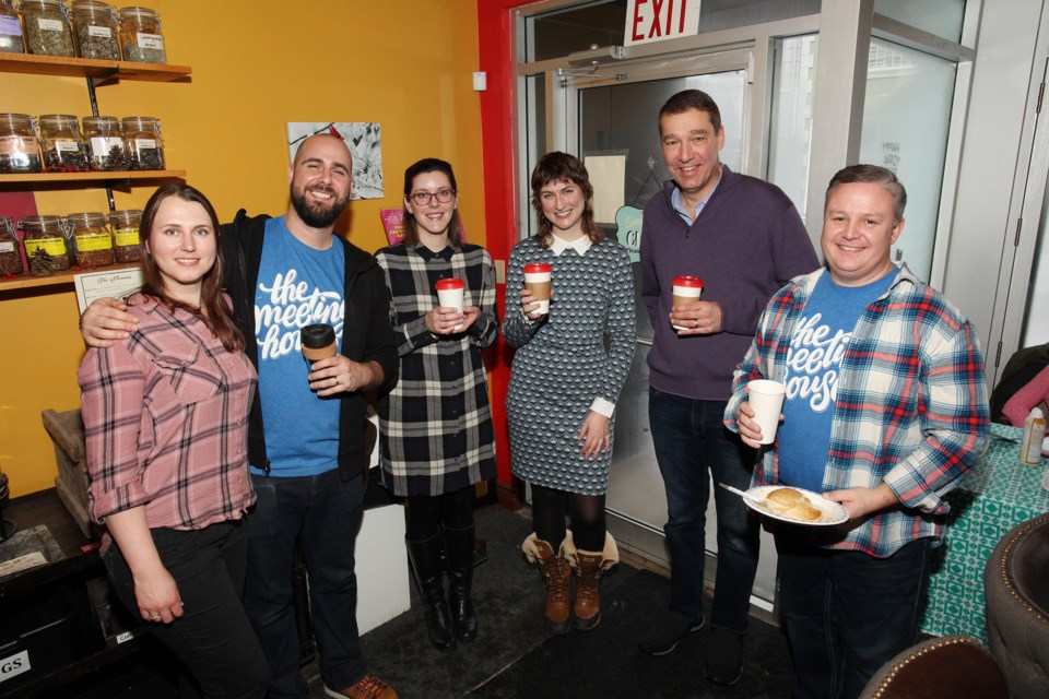 Cardinal Press Espresso Bar owners Ashley Torgis (from left) and Omar Saer, with Rose of Sharon's Jill Jambor and Caitlin Gladney-Hatcher, Newmarket Mayor John Taylor, and Meeting House lead pastor Simon Downey at the Meeting House Fog launch event Sunday.  Greg King for NewmarketToday