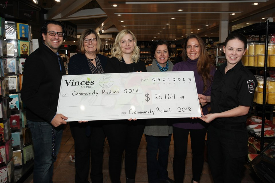 Vince's Market donated $25,156 to four charities at a presentation yesterday at the Newmarket location, with Giancarlo Trimarchi, Vince's Market CFO; Juliet Irish, executive director, Doane House Hospice; Maria Ciarlandini, community support ambassador, Vince's Market; Robin Hawkes, president, Tottenham Food Bank; Emmy Kelly, business director, Blue Door Shelters and Jessica Pett, animal control officer, Uxbridge/Scugog Animal Control Centre. Greg King for NewmarketToday
