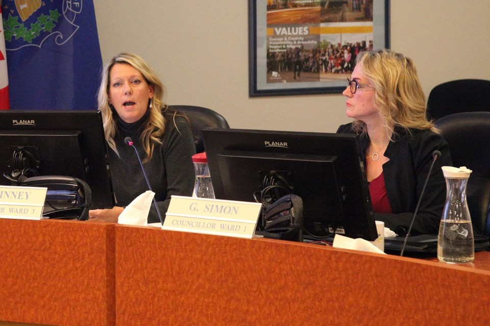 Councillor Jane Twinney (left) attempted to bring to the floor the staff report supporting opting in  on retails cannabis outlets Jan. 7. Greg King for NewmarketToday