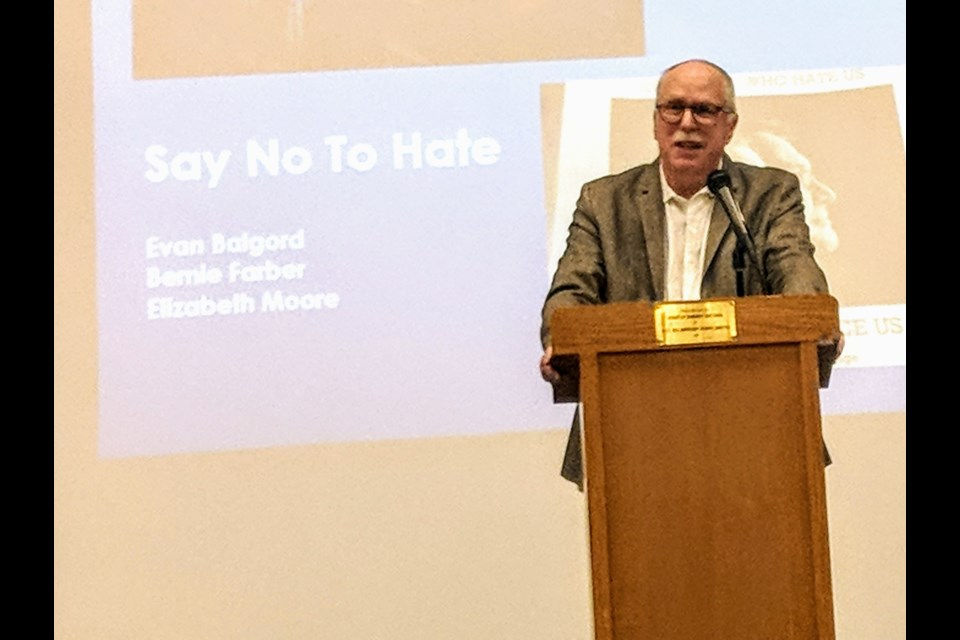 Leading human rights and hate expert Bernie Farber moderated the Say No to Hate seminar at Newmarket High School April 8. Kim Champion/NewmarketToday