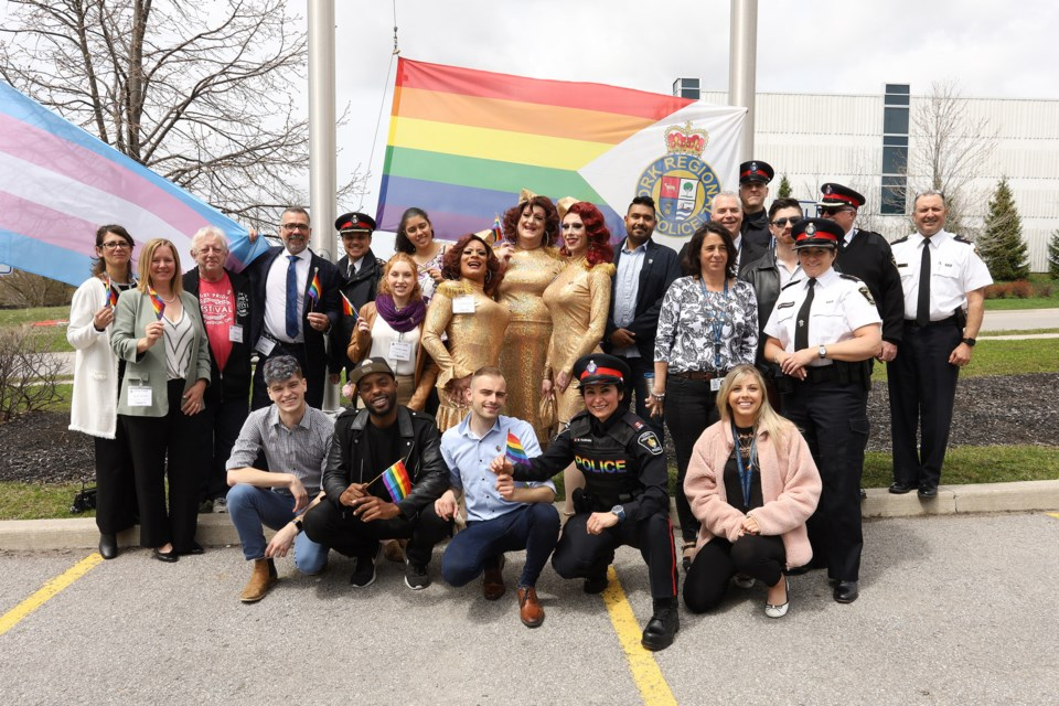 York Regional Police and York Pride were joined by community partners to mark the 50th anniversary of the decriminalization of homosexuality with a flag raising at York Regional Police headquarters May 14.                                                                                        Greg King for NewmarketToday