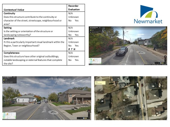 A sample of the  Town of Newmarket assessment process for heritage properties.