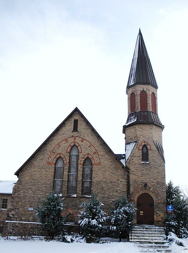The original church of St. Andrew's Presbyterian, as seen from Main Street.