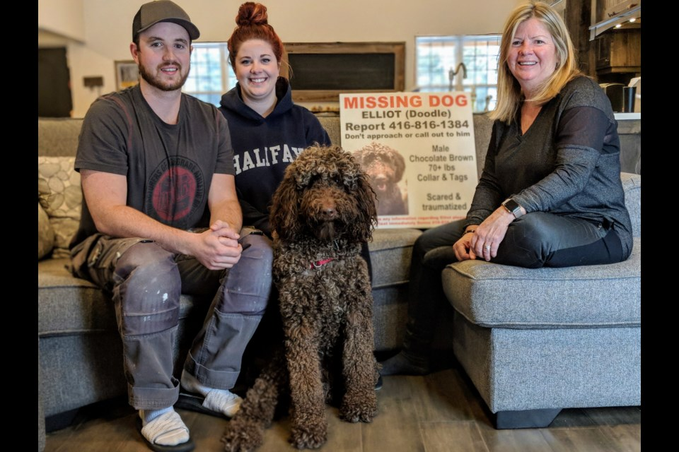 Colin Miller (left), fiance Kait Crarey, and Donna Bogers Miller say that without the help of the community, they would have never found their beloved family pet, Elliot. Kim Champion/NewmarketToday