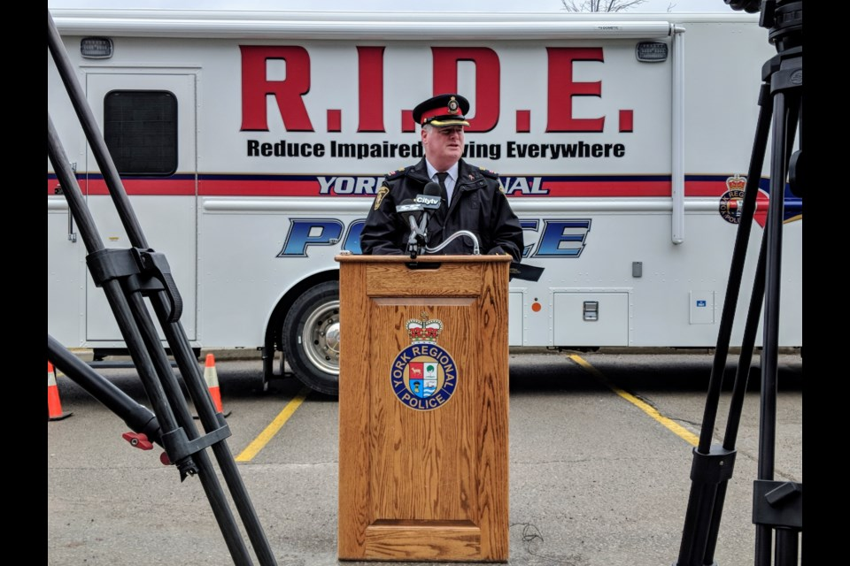 York Regional Police Supt. Kevin Torrie officially launches the force's latest tool to fight alcohol and drug impaired driving: A self-sufficient mobile breath testing unit that can accommodate three breath technicians and a drug recognition expert. Kim Champion/NewmarketToday