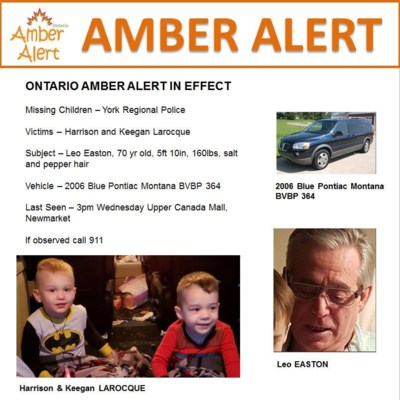 Toronto police says missing boys found safe following Amber Alert