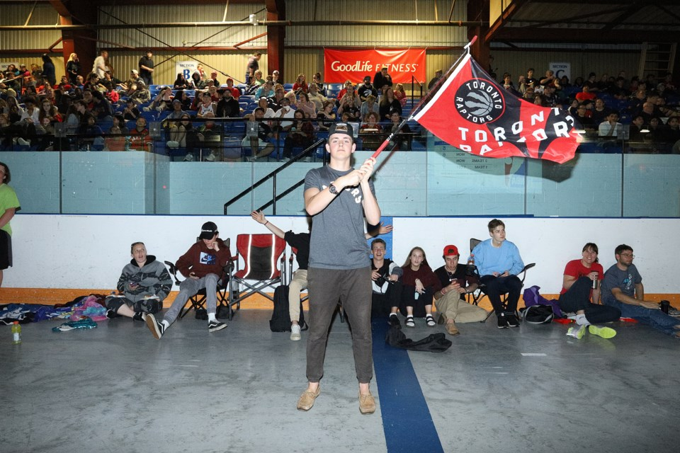 Braden Hache was the super fan of the evening, waving his Raptors flag from a hockey stick throughout the entire arena for Game 5 of the NBA Finals June 10.  Greg King for NewmarketToday