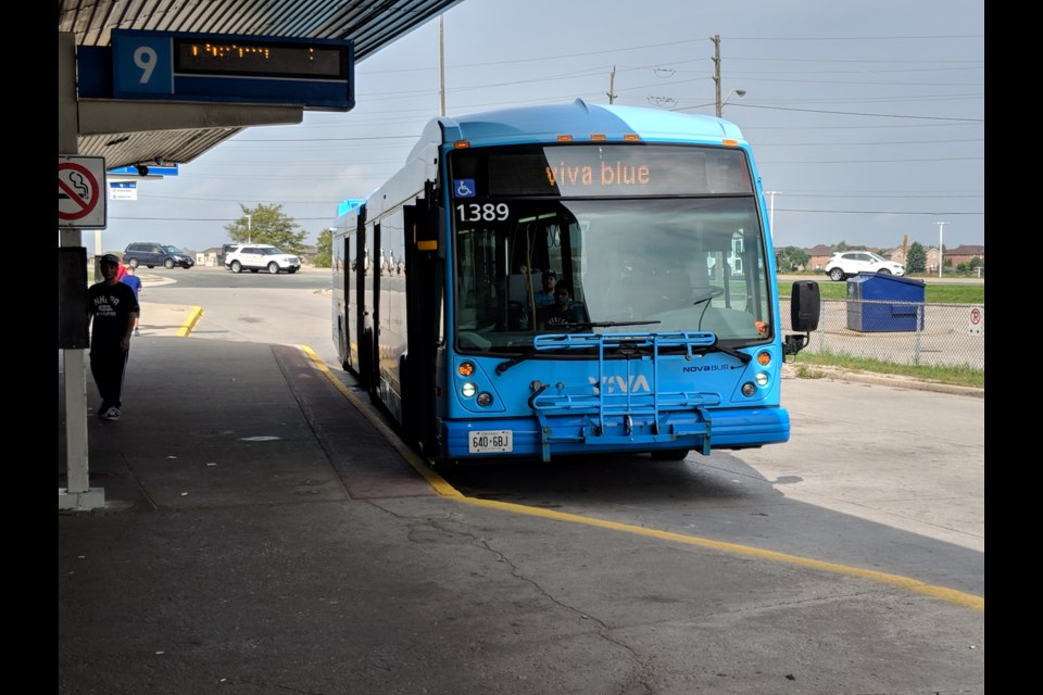 York Region Transit bus at the Newmarket GO station. Kim Champion/NewmarketToday