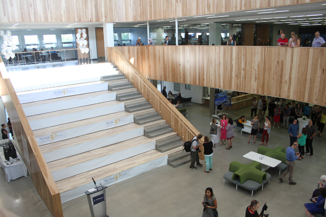 The new Welcome Centre features a three-storey high space with a main staircase, seating areas, study rooms and many student and administration services, making it a main hub for student life, as well as a comfortable gathering spot.