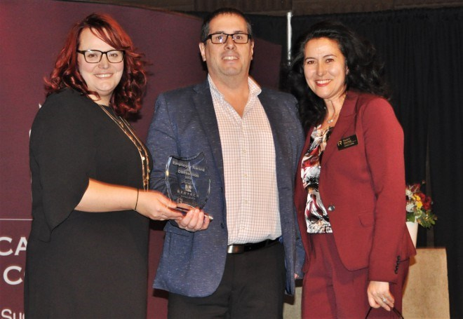 BESTECH was awarded the inaugural Employer Award of Distinction at the Feb. 5 Cambrian College Career Fair Conference. Pat Fantin, middle, general manager of BESTECH's Engineering Services, accepted the award.