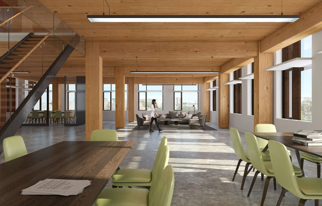 Element5's conceptual of a Toronto office building using Glulam columns and beams.