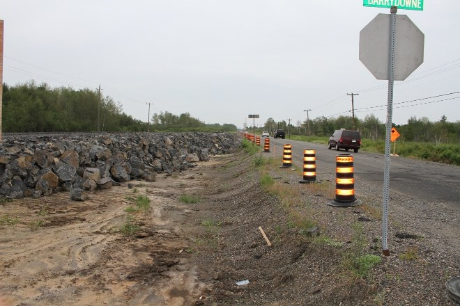 The rock bed that has been set down on the north side of Maley Drive as part of phase two, which includes four-laning Maley Drive from Barry Downe to Falconbridge Road.