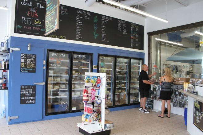 The interior of Max's Deli is open concept, with a giant freezer containing all their cooked and packaged food and raw treats. (Karen McKinley photo)